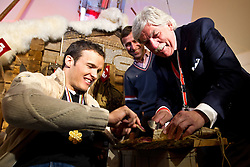 09.02.2011, Tirol Berg, Garmisch Partenkirchen, GER, FIS Alpin Ski WM 2011, GAP, Herren Super G, Sieger im Tirol Berg, im Bild Weltmeister Christof Innerhofer (ITA), Tirolwerber Jo Margreiter, Robert Brunner Pressespecher FISI // Gold Medal and World Champion Christof Innerhofer (ITA), CEO Tirol Werbung Josef Margreiterter and Roberto Brunner (FISI) during Men Super G, Fis Alpine Ski World Championships in Garmisch Partenkirchen, Germany on 9/2/2011. EXPA Pictures © 2011, PhotoCredit: EXPA/ J. Groder