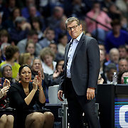UNCASVILLE, CONNECTICUT- DECEMBER 19:  Head coach Geno Auriemma of the UConn Huskies on the sideline while recording his 1000th win as head coach of the team during the Naismith Basketball Hall of Fame Holiday Showcase game between the UConn Huskies Vs Oklahoma Sooners, NCAA Women's Basketball game at the Mohegan Sun Arena, Uncasville, Connecticut. December 19, 2017 (Photo by Tim Clayton/Corbis via Getty Images)