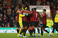 Football - 2019 / 2020 EFL Carabao (League) Cup - Second Round: AFC Bournemouth vs. Forest Green Rovers<br /> <br /> The Bournemouth squad celebrate with penalty hero goal keeper Mark Travers after he saves 3 penalties during the shoot out at the Vitality Stadium (Dean Court) Bournemouth <br /> <br /> COLORSPORT/SHAUN BOGGUST