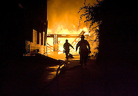 Naugatuck, Conn.- 15 August 2008- Naugatuck firefighters respond to a garage fire behind 28 Olive St. in Naugatuck...Josalee Thrift Photo