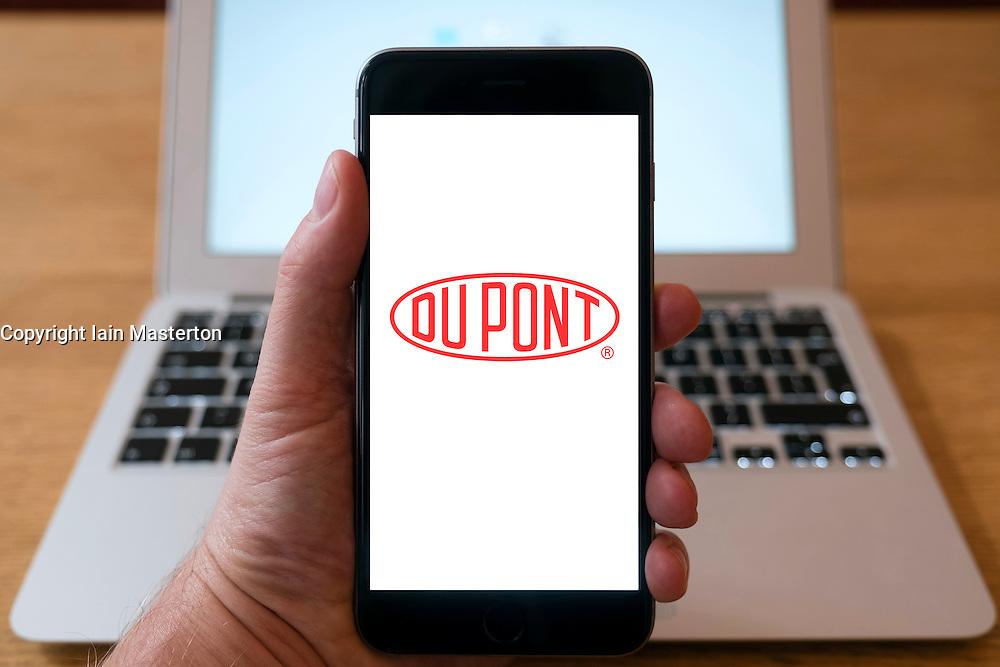 Du Pont company logo on website on smart phone screen.