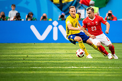 July 3, 2018 - St Petersburg, Russia - 180703 Ludwig Augustinsson of Sweden and Xherdan Shaqiri of Switzerland during the FIFA World Cup round of 16 match between Sweden and Switzerland on July 3, 2018 in ST Petersburg..Photo: Petter Arvidson / BILDBYRÃ…N / kod PA / 87748 (Credit Image: © Petter Arvidson/Bildbyran via ZUMA Press)