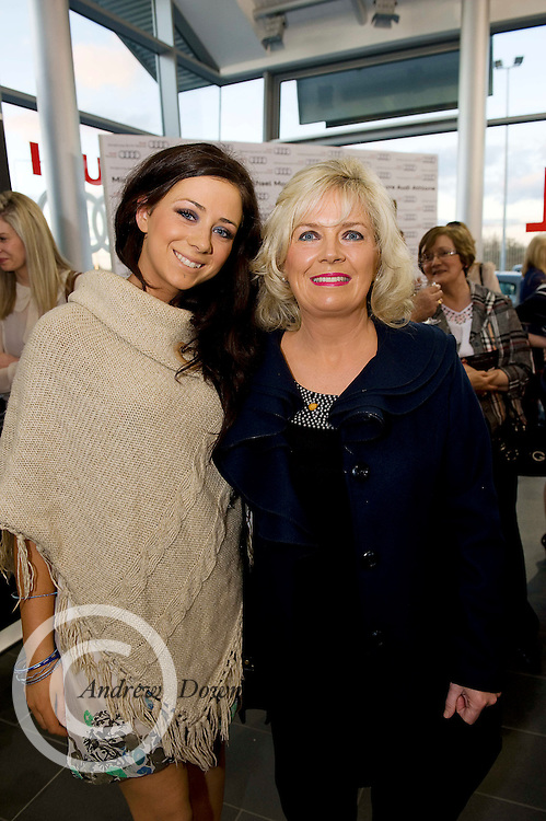TV3's Sinead Desmond launched the brand new Audi A6 in the exclusive Michael Moore Car Sales Athlone along with a evening of amazing Fashion from top boutiques in the Midlands produced by Mandy Maher of Catwalk Model Agency all in aid of Console & NBCRI.  At the event was Leanne and Nancy Kilmartin Monksland  Athlone..Photo:Andrew Downes.