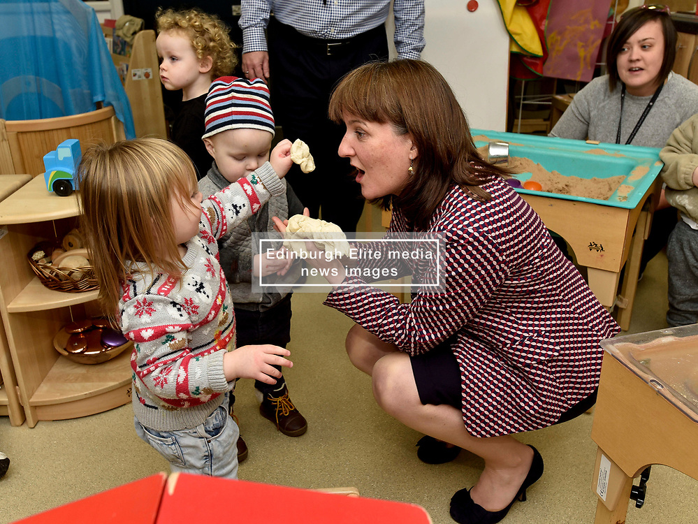 Pictured: Maree Todd meets Cooper Boardman (2) and Aaliyah Taylor (2) from Inverkeithing.<br /> <br /> Minister for Children and young people Maree Todd launched the Scottish Government's new national standards for childcare and early years providers on a visit to the Treetop Family Centre in Inverkeithing.<br /> <br /> © Dave Johnston / EEm