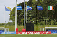 Flags fluttering on a windy day during the UEFA European Under 17 Championship 2018 match between Bosnia and Republic of Ireland at Stadion Bilino Polje, Zenica, Bosnia and Herzegovina on 11 May 2018. Picture by Mick Haynes.