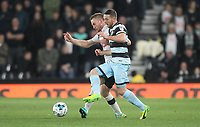 Derby County's Alex Pearce battles with  Queens Park Rangers' Conor Washington<br /> <br /> Photographer Mick Walker/CameraSport<br /> <br /> The EFL Sky Bet Championship - Derby County v Queens Park Rangers - Friday 31st March 2017 - Pride park - Derby<br /> <br /> World Copyright © 2017 CameraSport. All rights reserved. 43 Linden Ave. Countesthorpe. Leicester. England. LE8 5PG - Tel: +44 (0) 116 277 4147 - admin@camerasport.com - www.camerasport.com