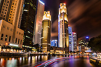 Downtown Singapore featuring United Overseas Bank Plaza (center towers)