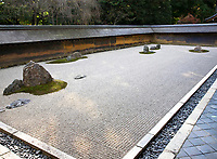 19. Ryoanji 龍安寺 garden is the world's best known Zen garden. This rock garden, known as a dry garden or karesansui is the most renowned of its kind in the world. The simple appearance of this Zen garden consists of nothing but stones and neatly raked gravel. The intention of the garden's design is obscure and up to each visitor's interpretation. Like a Zen koan puzzle it is said that if you can see all of the 15 stones at once you will have reached enlightenment.