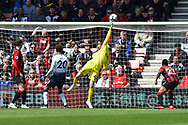 Mark Travers (42) of AFC Bournemouth makes a save from a shot by Dele Alli (20) of Tottenham Hotspur during the Premier League match between Bournemouth and Tottenham Hotspur at the Vitality Stadium, Bournemouth, England on 4 May 2019.