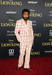 Donald Glover at the World premiere of 'The Lion King' held at the Dolby Theatre in Hollywood, USA on July 9, 2019.