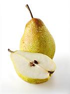 Fresh  comice pears whole and cut