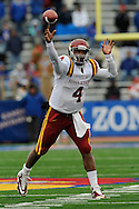 October 10, 2009:  Quarterback Austen Amaud #4 of the Iowa State Cyclones throws the ball down field during a game against the Kansas Jayhawks at Memorial Stadium in Lawrence, Kansas.  Kansas defeated the Cyclones 41-36.