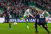 Tom Rogic of Celtic FC with a shot on goal during the Europa League match between Celtic and FC Copenhagen at Celtic Park, Glasgow, Scotland on 27 February 2020.