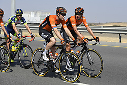 February 15, 2018 - Muscat, Oman - LIGTHART Pim of Roompot - Nederlandse Loterij, GERTS Floris of Roompot - Nederlandse Loterij during stage 3 of the 9th edition of the 2018 Tour of Oman cycling race, a stage of 179.5 kms between German University of Technology and Wadi Dayqah Dam on February 15, 2018 in Muscat, Sultanate Of Oman, 15/02/2018 (Credit Image: © Panoramic via ZUMA Press)