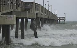 High surf from Hurricane Irma crashes below the Dania Beach Pier on Saturday, September 9, 2017, in Dania Beach, FL, USA. Photo by Joe Cavaretta/Sun Sentinel/TNS/ABACAPRESS.COM