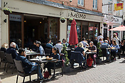 Local residents and visitors enjoy subsidised Bank Holiday Monday lunches at a Moroccan restaurant on the final day of the government's Eat Out To Help Out meal scheme on 31 August 2020 in Windsor, United Kingdom. Many restaurant owners have called for an extension to the scheme introduced by the Chancellor of the Exchequer to help preserve hospitality jobs during the COVID-19 pandemic.