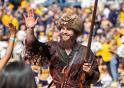 Oct 2, 2021; Morgantown, West Virginia, USA; The West Virginia Mountaineers mascot leads the team into the stadium prior to their game against the Texas Tech Red Raiders at Mountaineer Field at Milan Puskar Stadium. Mandatory Credit: Ben Queen-USA TODAY Sports