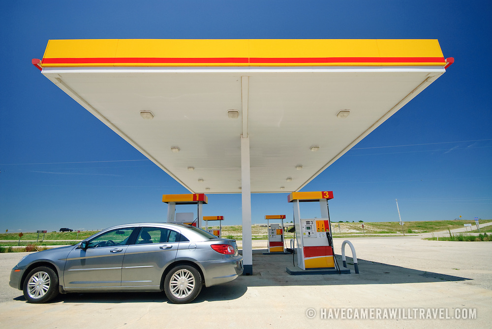 An empty gas (petrol) station