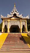 The staircase leading to the entrance to Kusinara Ingyin Tawya Pagoda complex, Mandalay Hill, Myanmar