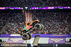 December 16, 2017 - Sao Paulo, Sao Paulo, Brazil - Scooby-Doo jumps hight during a round of racing. Monster Jam was held at Corinthians Stadium, in Sao Paulo, Brazil. (Credit Image: © Paulo Lopes via ZUMA Wire)