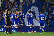 Cardiff city players celebrate after Shane Duffy of Blackburn Rovers (not in pic)  scores an own goal, his second, to score Cardiff city's 2nd goal. EFL Skybet championship match, Cardiff city v Blackburn Rovers at the Cardiff city stadium in Cardiff, South Wales on Wednesday 17th August 2016.<br /> pic by Andrew Orchard, Andrew Orchard sports photography.