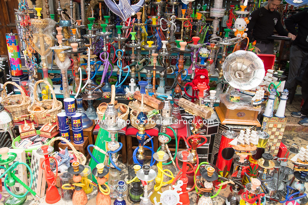 Waterpipes for sale at the market in the narrow alleyway of the old city of Acre, western Galilee, Israel