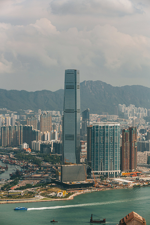 A general view of the Hong Kong skyline and Victoria Harbor,  from Victoria Peak shows commercial and residential buildings in Kowloon, Hong Kong, China, on October 15, 2019.