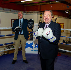 Pictured: <br />ALBA Party Leader and Former First Minister Alex Salmond got into the ring to fight for the independence Supermajority in the upcoming Scottish Parliament Election. He was joined by Kenny McKaskill, who is a list Candidate for ALBA.<br />Ger Harley | EEm 26 April 2021