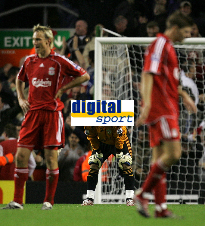 Photo: Paul Thomas.<br /> Liverpool v Arsenal. The FA Barclays Premiership. 28/10/2007.<br /> <br /> (L-R) Sami Hyypia, keeper Jose Reina and Steven Gerrard of Liverpool after Arsenal score.
