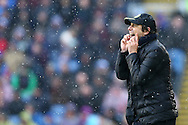 Chelsea Manager Antonio Conte shouts from the touchline. Premier league match, Burnley v Chelsea at Turf Moor in Burnley, Lancs on Sunday 12th February 2017.<br /> pic by Chris Stading, Andrew Orchard Sports Photography.