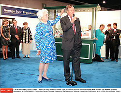 © RON TARVER/KRT/ABACA. 19901-1. PHILADELPHIA, PENNSYLVANIA, USA, 01/08/2000. Former president George Bush, and his wife Barbara, make an appearance at the Philadelphia Convention Center, Tuesday, the week of the Republican National Convention. Bush spoke