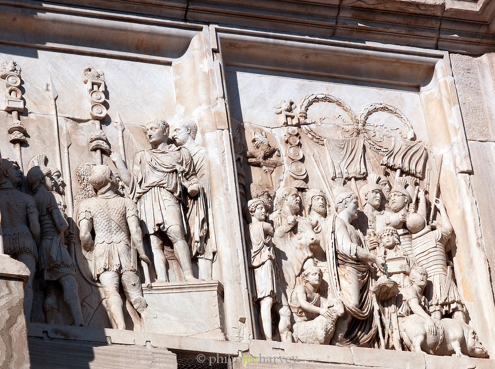 Detail of the south side of the Arch of Constantine, Rome, Italy.