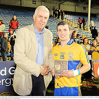 15 September 2012; Cathal O'Connell, Clare, is presented with the Bord Gais Energy Man of the Match Award by Ger Cunningham, Sports Ambassador with Bord Gais Energy. Bord Gáis Energy GAA Hurling Under 21 All-Ireland 'A' Championship Final, Clare v Kilkenny, Semple Stadium, Thurles, Co. Tipperary. Picture credit: Diarmuid Greene / SPORTSFILE