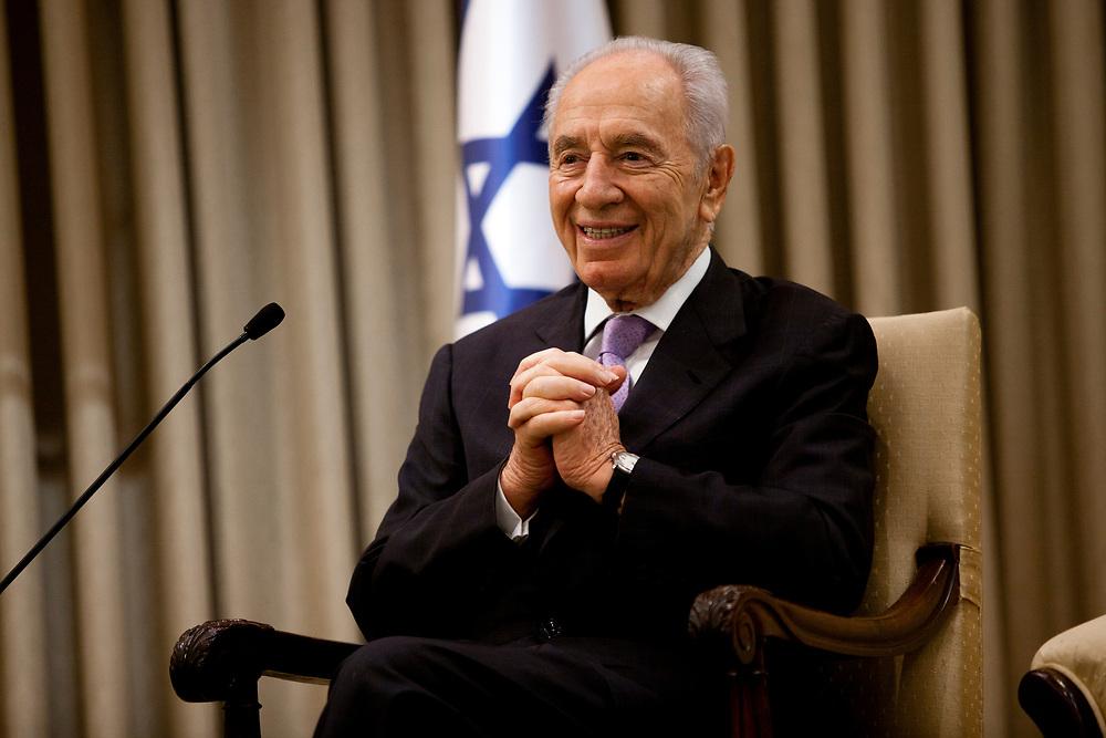 Israeli President Shimon Peres at the President's Residence in Jerusalem, Israel, on July 25, 2011