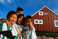 Inuit kids, Scoresbysund, Ittoqottormiit, North East Greenland National Park, Greeenland