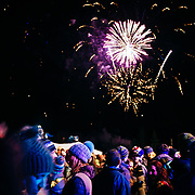 Fireworks celebrate the ending of the #marchradness spring celebration at Jackson Hole Mountain Resort in Wilson, Wyoming.