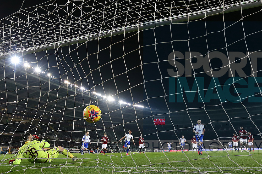 Fabio Quagliarella of Sampdoria fires home from the penalty spot to give the side a 3-1 lead during the Serie A match at Stadio Grande Torino, Turin. Picture date: 8th February 2020. Picture credit should read: Jonathan Moscrop/Sportimage