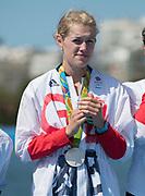 "Rio de Janeiro. BRAZIL.   Olivia CARNEGIE-BROWN. GBR W8+ Silver Medalist, awards dock. 2016 Olympic Rowing Regatta. Lagoa Stadium,<br /> Copacabana,  ""Olympic Summer Games""<br /> Rodrigo de Freitas Lagoon, Lagoa.   Saturday  13/08/2016 <br /> <br /> [Mandatory Credit; Peter SPURRIER/Intersport Images]"