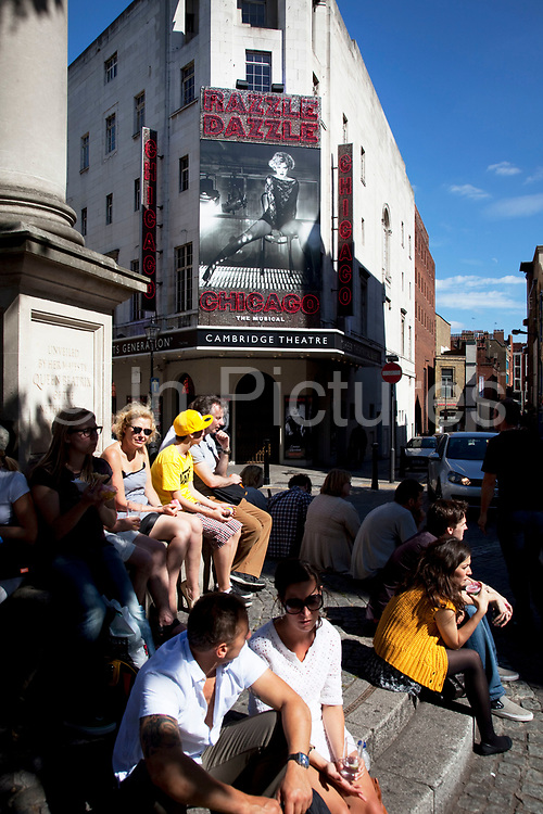 The West End show Chicago at the Cambridge Theatre, Seven Dials, Covent Garden, central London. Seven Dials is a small but well-known road junction where seven streets converge. At the centre of the roughly-circular space is a pillar bearing six (not seven) sundials.