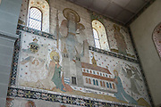 Fresco artwork inside the Stadtkirche (City Church) in Stein am Rhein village, in Schaffhausen Canton, Switzerland, Europe.