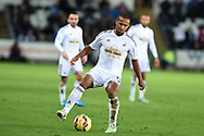 Wayne Routledge of Swansea city in action, Barclays Premier league match, Swansea city v Queens Park Rangers at the Liberty stadium in Swansea, South Wales on Tuesday 2nd December 2014<br /> pic by Andrew Orchard, Andrew Orchard sports photography.