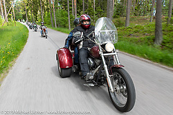 Marlon Larsson riding his 2001 Harley-Davidson Super Glide trike conversion on a Twin Club ride out from the club house in Norrtälje after their annual Custom Bike Show. Sweden. Sunday, June 2, 2019. Photography ©2019 Michael Lichter.