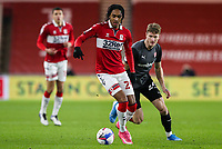 Middlesbrough's Djed Spence gets away from Rotherham United's Michael Smith<br /> <br /> Photographer Alex Dodd/CameraSport<br /> <br /> The EFL Sky Bet Championship - Middlesbrough v Rotherham United - Wednesday 27th January 2021 - Riverside Stadium - Middlesbrough<br /> <br /> World Copyright © 2021 CameraSport. All rights reserved. 43 Linden Ave. Countesthorpe. Leicester. England. LE8 5PG - Tel: +44 (0) 116 277 4147 - admin@camerasport.com - www.camerasport.com