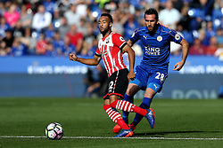 Nathan Redmond of Southampton passes the ball as Christian Fuchs of Leicester City shuts him down - Mandatory by-line: Robbie Stephenson/JMP - 02/10/2016 - FOOTBALL - King Power Stadium - Leicester, England - Leicester City v Southampton - Premier League
