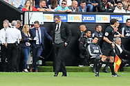 Paul Clement, the Swansea city manager looks dejected after Manchester Utd score their 4th goal.  Premier league match, Swansea city v Manchester Utd at the Liberty Stadium in Swansea, South Wales on Saturday 19th August 2017.<br /> pic by  Andrew Orchard, Andrew Orchard sports photography.
