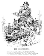 "The Independents. There was an old fellow who lived in a shoe; He had too many daughters, with no one to woo. He expressed his regret, but ""Don't Worry,"" they said, ""We are able and willing to earn our own bread."" (an InterWar era cartoon showing John Bull surprised by the Census Report as his daughters are busy earning their living in the professions as lawyers, policewomen, nurses and army drivers)"