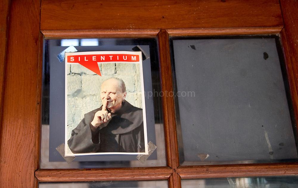 Silence! Sign on door of Franciscan Monastery, Dubrovnik