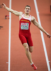 Darko Pešić of Montenegro competes in the Heptathlon Long Jump Men on day two of the 2017 European Athletics Indoor Championships at the Kombank Arena on March 4, 2017 in Belgrade, Serbia. Photo by Vid Ponikvar / Sportida