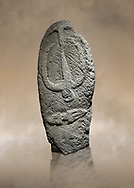 Late European Neolithic prehistoric Menhir standing stone with carvings on its face side. The representation of a stylalised male figure starts at the top with a long nose from which 2 eyebrows arch around the top of the stone. below this is a carving of a falling figure with head at the bottom and 2 curved arms encircling a body above. at the bottom is a carving of a dagger running horizontally across the menhir.  Excavated from Barrili II site,  Laconi. Menhir Museum, Museo della Statuaria Prehistorica in Sardegna, Museum of Prehoistoric Sardinian Statues, Palazzo Aymerich, Laconi, Sardinia, Italy. warm art background.<br /> <br /> Visit our PREHISTORIC PLACES PHOTO COLLECTIONS for more  photos to download or buy as prints https://funkystock.photoshelter.com/gallery-collection/Prehistoric-Neolithic-Sites-Art-Artefacts-Pictures-Photos/C0000tfxw63zrUT4