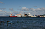 A cruise ship at the quay in Punta Arenas. Punta Arenas, Chile. 15Feb13